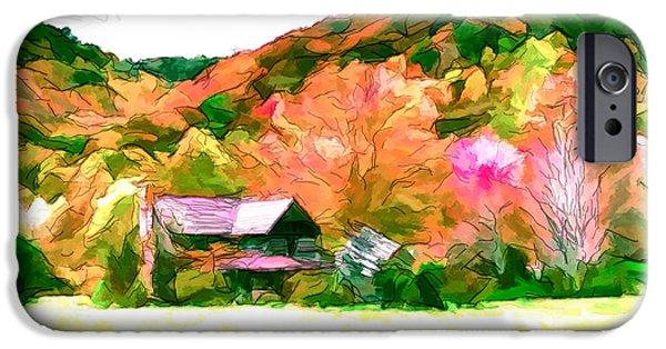Best Sellers -  - Shed Drawings iPhone Cases - Falling Farm Blended Art Styles iPhone Case by John Haldane