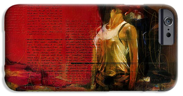 Abstract On Canvas Paintings iPhone Cases - Falling in Love iPhone Case by Corporate Art Task Force