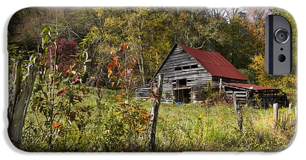 Tn Barn iPhone Cases - Falling Into Autumn iPhone Case by Debra and Dave Vanderlaan