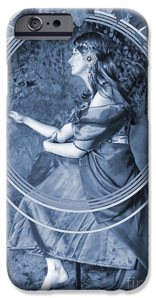 Painter Digital Art iPhone Cases - Falling Leaves Cyanotype iPhone Case by John Edwards
