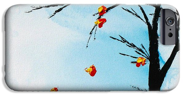 Abstract Expressionism iPhone Cases - Falling Leaves iPhone Case by Kume Bryant