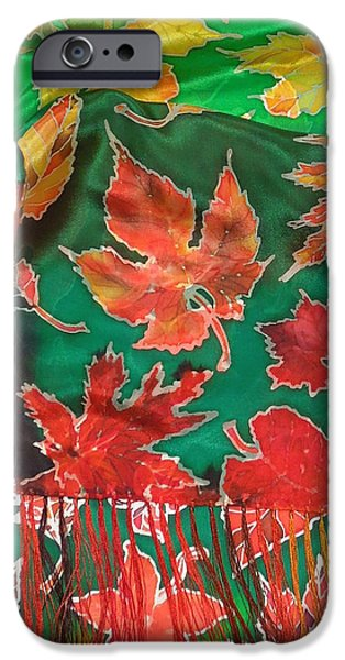 Mountain Tapestries - Textiles iPhone Cases - Falling leafs silk scarf iPhone Case by Annelle Woggon