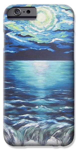 Sea Moon Full Moon Paintings iPhone Cases - Falling Off the Edge iPhone Case by Cheryl Pettigrew