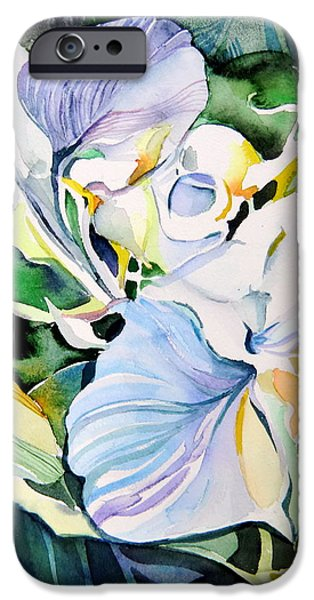 Abstract Design Drawings iPhone Cases - Falling Orchids iPhone Case by Mindy Newman