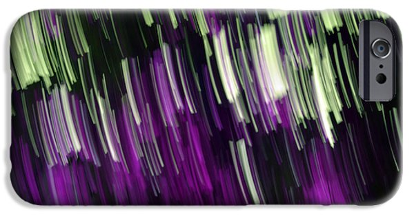 Colorful Abstract Pyrography iPhone Cases - Falling purple iPhone Case by Eiwy Ahlund