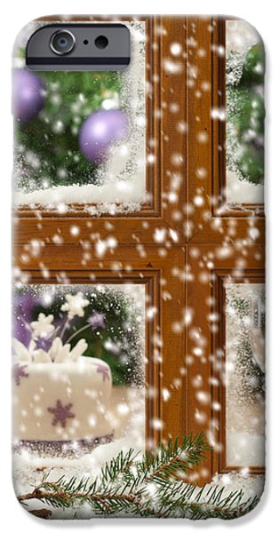 Snowy Scene iPhone Cases - Falling Snow Window iPhone Case by Amanda And Christopher Elwell
