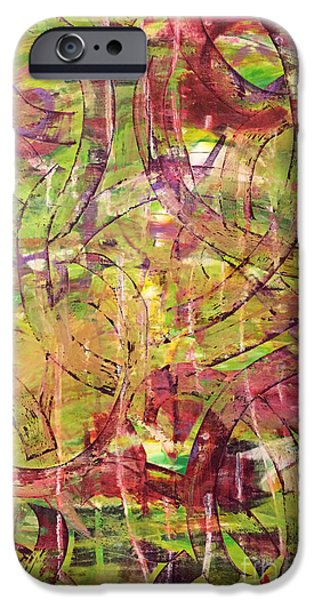 Abstract Expressionism Pastels iPhone Cases - Falling To Pieces iPhone Case by Ame Jo Hughes