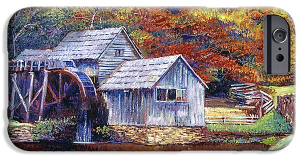 Grist Mill iPhone Cases - Falling Water Mill House iPhone Case by David Lloyd Glover