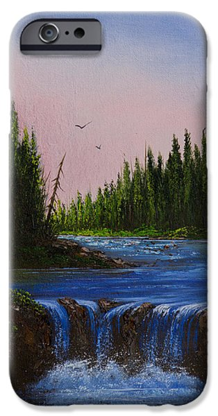 Bob Ross Paintings iPhone Cases - Falls At Rivers Bend iPhone Case by C Steele