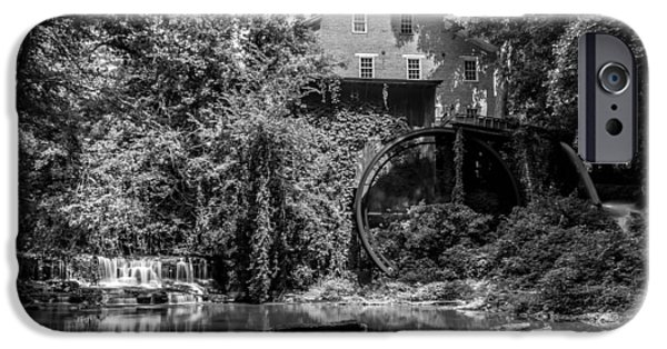 Grist Mill iPhone Cases - Falls Mill B-W iPhone Case by John Ray