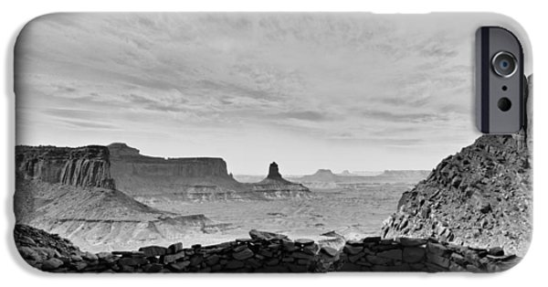 Ruin iPhone Cases - False Kiva in BW - Canyonlands National Park Moab Utah iPhone Case by Silvio Ligutti