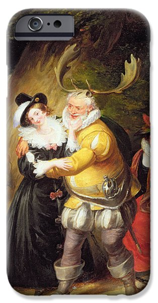 Windsor iPhone Cases - Falstaff At Hernes Oak From The Merry Wives Of Windsor, Act V, Scene V, 1832 Oil On Panel iPhone Case by James Stephanoff