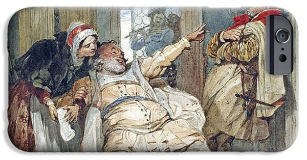 Debt iPhone Cases - Falstaff Bardolph and Dame Quickly iPhone Case by Francis Phillip Stephanoff