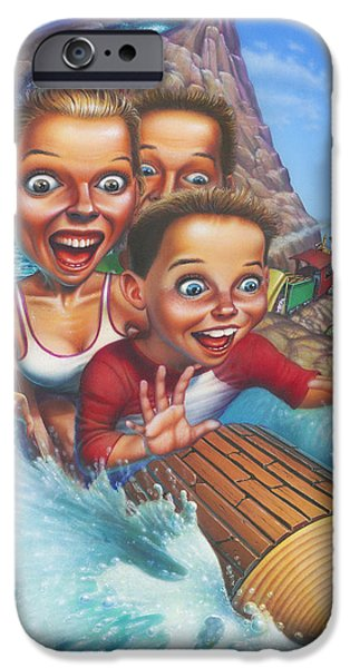Park Scene Paintings iPhone Cases - Family Enjoying Water Slide - Amusement Park Ride - Log Ride iPhone Case by Walt Curlee