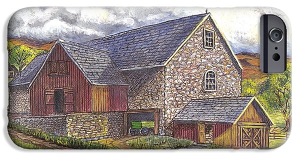 Old Barn Drawing iPhone Cases - A Scottish Farm pen ink wc iPhone Case by Carol Wisniewski