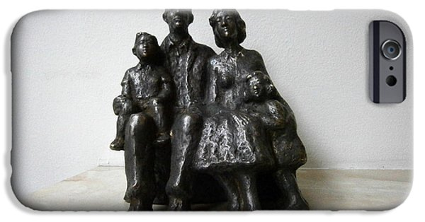 Child Sculptures iPhone Cases - Family iPhone Case by Nikola Litchkov