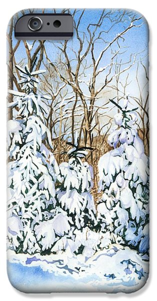Snow Scene iPhone Cases - Family of Four Trailside at 7 Springs iPhone Case by Barbara Jewell