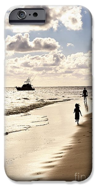 Escape iPhone Cases - Family on sunset beach iPhone Case by Elena Elisseeva
