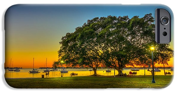 Park Benches iPhone Cases - Family Sunset iPhone Case by Marvin Spates