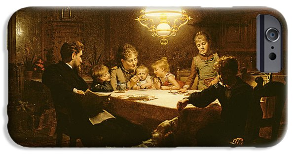 Group iPhone Cases - Family Supper In The Lamp Light, 19th Century iPhone Case by Knut Ekvall