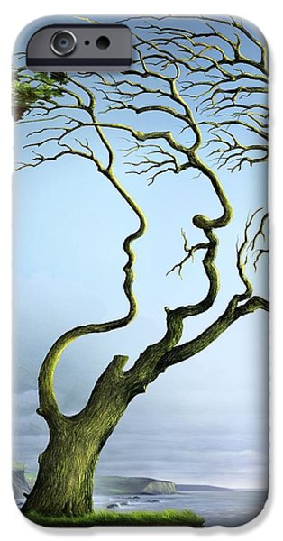 Genealogy iPhone Cases - Family Tree, Conceptual Artwork iPhone Case by Wieslaw Smetek