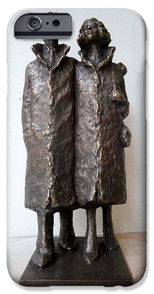 Couple Sculptures iPhone Cases - Family walk iPhone Case by Nikola Litchkov