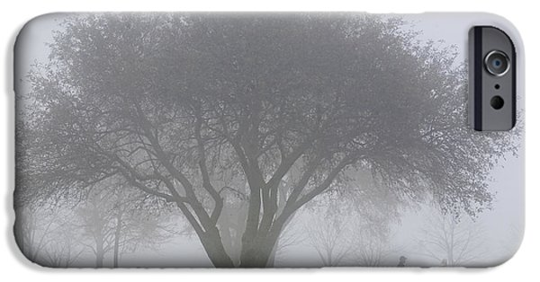 Mature Adult iPhone Cases - Family Walking Through Park In The iPhone Case by Mary Ellen McQuay