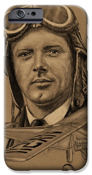 Duo Tone iPhone Cases - Famous Aviators Charles Lindbergh iPhone Case by Dale Jackson