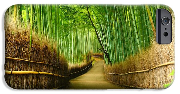 Bamboo Fence iPhone Cases - Famous bamboo grove at Arashiyama iPhone Case by Lanjee Chee