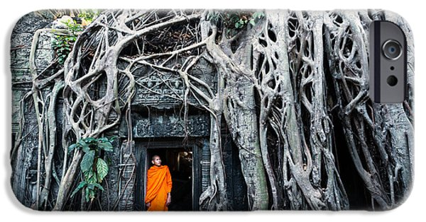 Tree Roots iPhone Cases - Famous big tree inside Ta Phrom temple - Angkor - Cambodia iPhone Case by Matteo Colombo