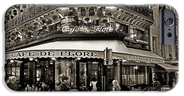 Wine Service Photographs iPhone Cases - Famous Cafe de Flore - Paris iPhone Case by Carlos Alkmin