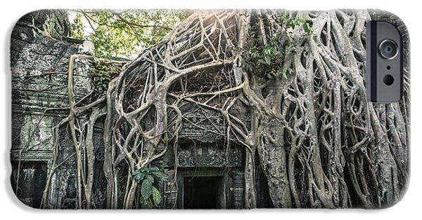 Tree Roots iPhone Cases - Famous old temple ruin with giant tree roots - Angkor wat - Cambodia iPhone Case by Matteo Colombo
