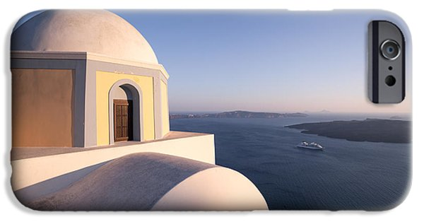 Greek Icon iPhone Cases - Famous orthodox church in Santorini Greece at sunset iPhone Case by Matteo Colombo