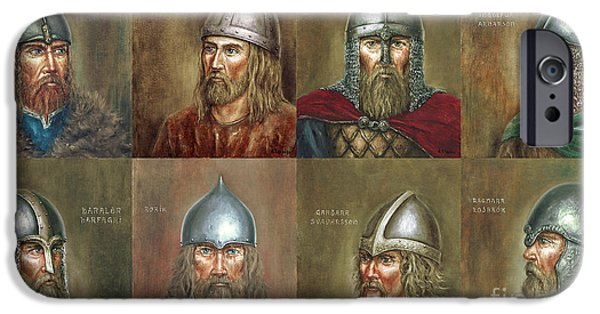 Vikings Paintings iPhone Cases - Famous Vikings iPhone Case by Arturas Slapsys