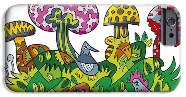 Ramspott iPhone Cases - Fanciful Mushroom Nature Doodle iPhone Case by Frank Ramspott