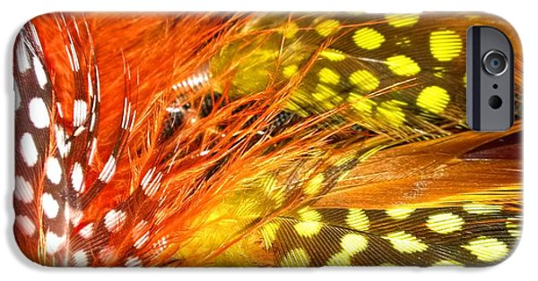 Yellow Jewelry iPhone Cases - Fancy Feathers iPhone Case by Catherine Ratliff