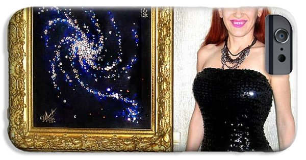 Outer Space Jewelry iPhone Cases - Space galaxy painting with swarovski crystals. Sofia Metal Queen / Sofia Goldberg iPhone Case by Sofia Metal Queen