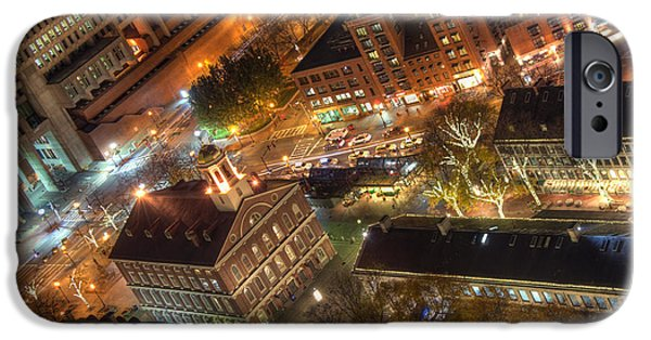 City. Boston iPhone Cases - Faneuil Hall from Above iPhone Case by Joann Vitali