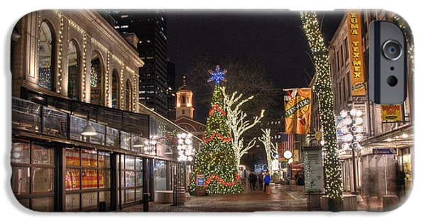 Tea Party iPhone Cases - Faneuil Hall Holiday Lights iPhone Case by Joann Vitali