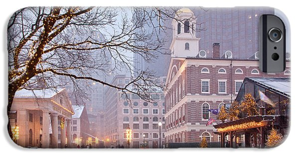 Boston iPhone Cases - Faneuil Hall in Snow iPhone Case by Susan Cole Kelly
