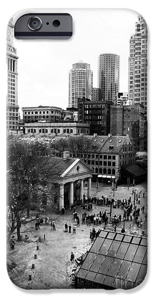 Monotone iPhone Cases - Faneuil Hall Marketplace iPhone Case by John Rizzuto