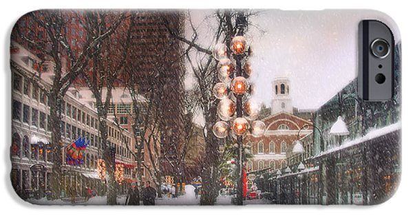 Tea Party iPhone Cases - Faneuil Hall Winter Scene iPhone Case by Joann Vitali