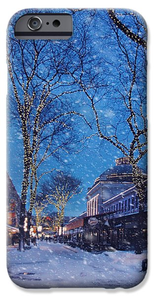 Tea Party Photographs iPhone Cases - Faneuil Hall Winter Snow - Boston iPhone Case by Joann Vitali