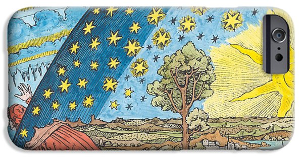 Allegory iPhone Cases - Fantastic Depiction Of The Solar System Woodcut Later Colouration iPhone Case by German School
