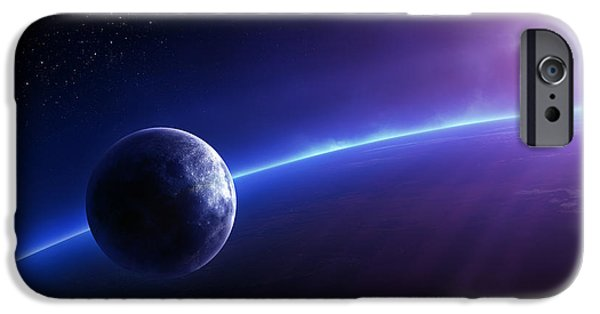 Moon iPhone Cases - Fantasy Earth and Moon with colourful  sunrise iPhone Case by Johan Swanepoel