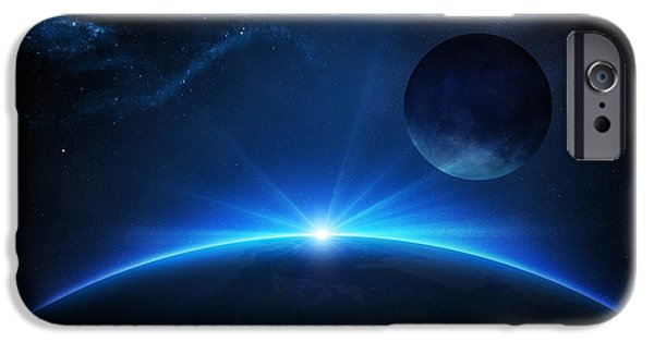 Conceptual Digital iPhone Cases - Fantasy Earth and Moon with sunrise iPhone Case by Johan Swanepoel