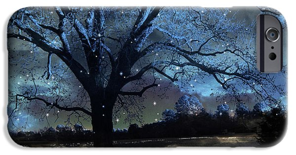Surreal Landscape iPhone Cases - Fantasy Blue Nature Photography - Blue Starry Surreal Gothic Fantasy Trees and Stars iPhone Case by Kathy Fornal