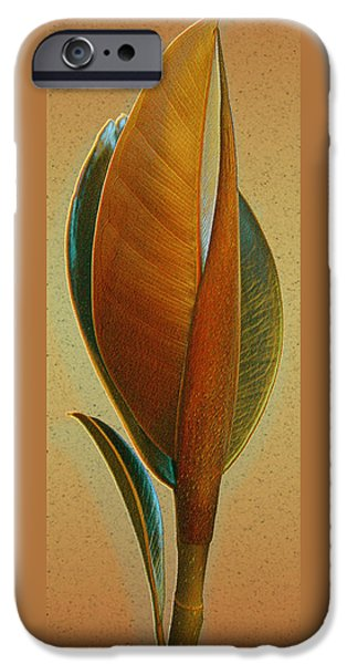 Abstract Digital Art iPhone Cases - Fantasy Leaf iPhone Case by Ben and Raisa Gertsberg