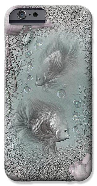 Bathroom Prints iPhone Cases - Fantasy Ocean 1 iPhone Case by Carol Cavalaris