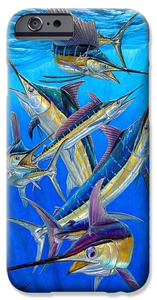 Sailfish Paintings iPhone Cases - Fantasy Slam iPhone Case by Terry Fox